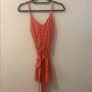 Orange and white striped romper!